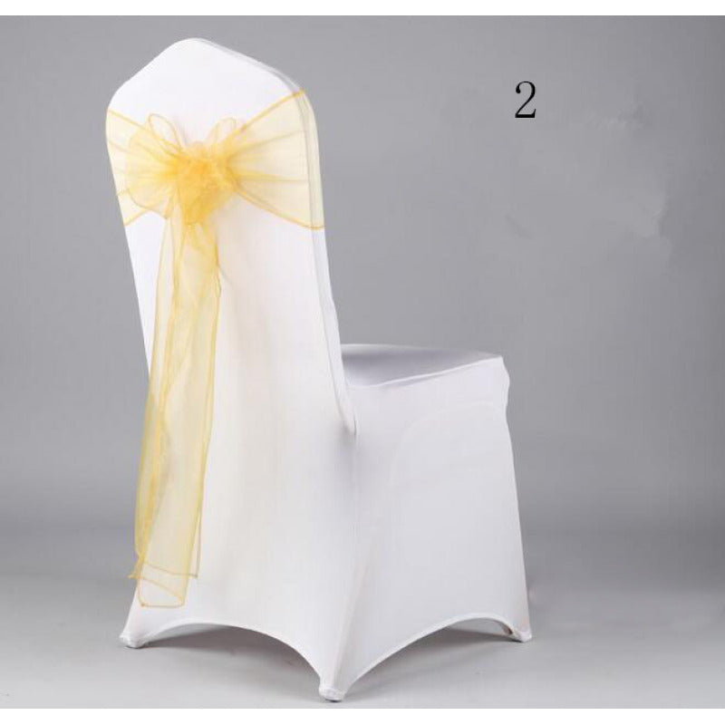 Costbuys  Wedding Organza Chair Cover Sashes Sash Party Banquet Decor Bow hot Colors Home and Kitchen 35 - Fluorescence Yellow