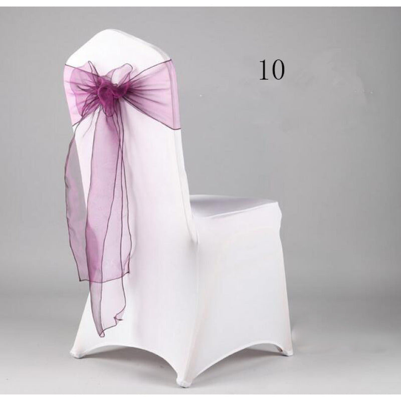 Costbuys  Wedding Organza Chair Cover Sashes Sash Party Banquet Decor Bow hot Colors Home and Kitchen 35 - Plum