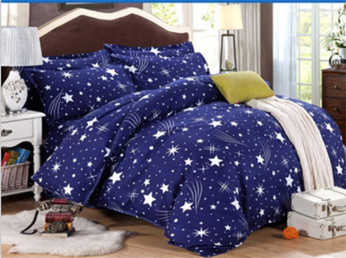 Costbuys  Wedding favors and gifts bedspread 4PCS Bedding Set King quee full Bed Sets Quilt Wedding Sheet Pillow Cover - Blue /