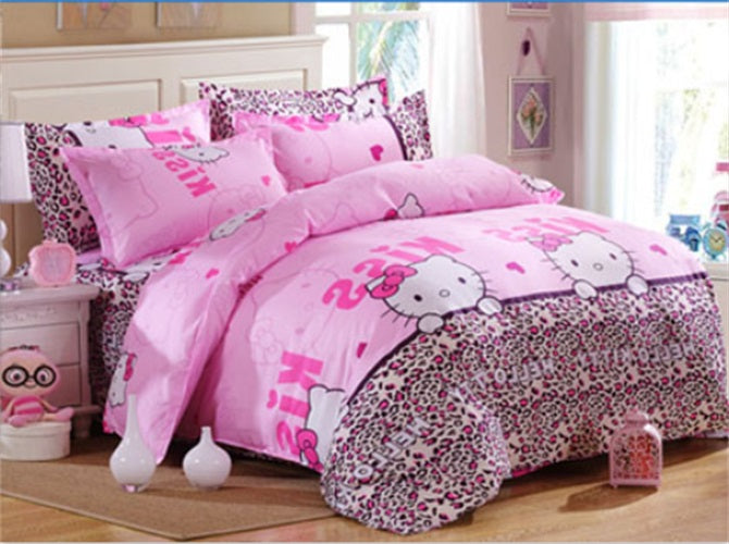 Costbuys  Wedding favors and gifts bedspread 4PCS Bedding Set King quee full Bed Sets Quilt Wedding Sheet Pillow Cover - Pink /