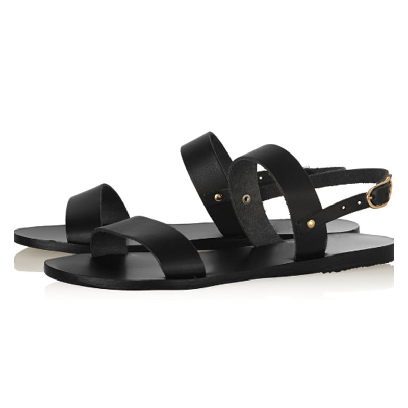 27333b7f03a0 Cow Leather Women Sandals Open Toe Flats Buckle Gladiator Footwear Sum –  Costbuys
