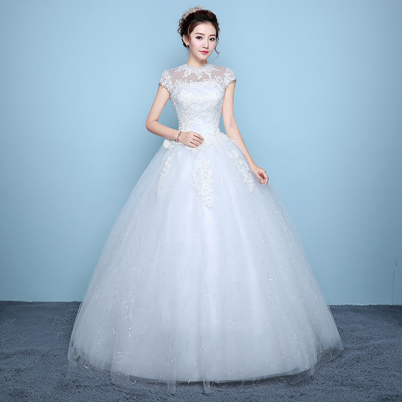 White New Style Lace Wedding Dress Korean Style Simple Appliques ...