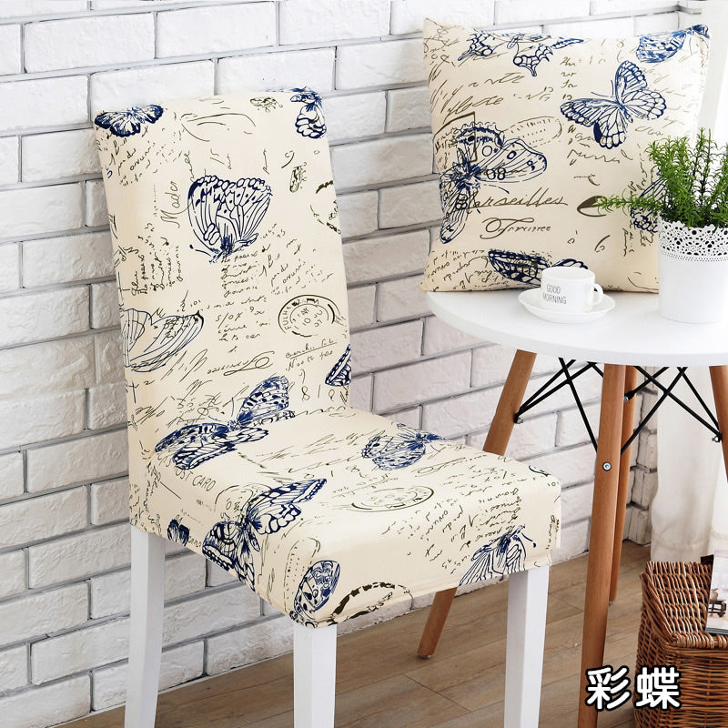 Costbuys  White and black Universal Chair Cover floral printed seat Covers chair covers elastic slipcovers hotel banquet home de