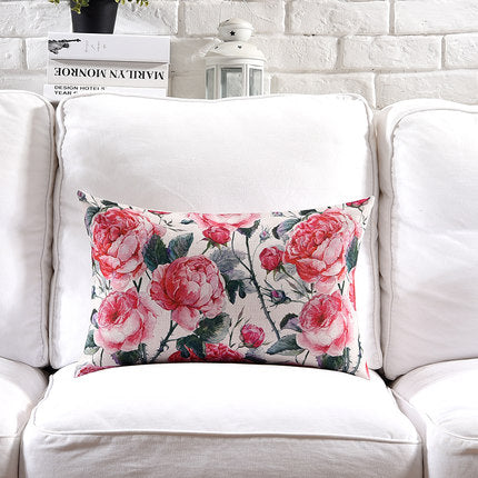 Costbuys  Pillow Cover Vintage Shabby Chic Pink Floral Cushion Cover Lily Poney Home Decorative Pillow Case 45x45cm/30x50cm - G