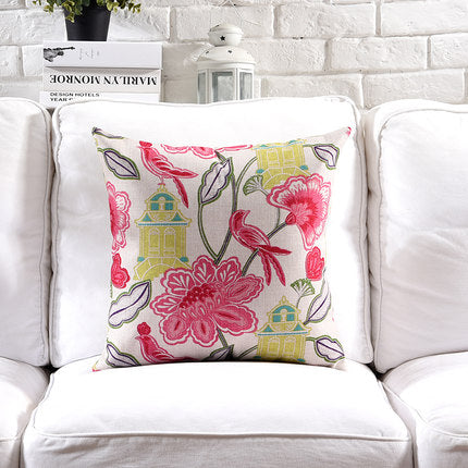 Costbuys  Pillow Cover Vintage Shabby Chic Pink Floral Cushion Cover Lily Poney Home Decorative Pillow Case 45x45cm/30x50cm - F