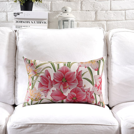 Costbuys  Pillow Cover Vintage Shabby Chic Pink Floral Cushion Cover Lily Poney Home Decorative Pillow Case 45x45cm/30x50cm - I