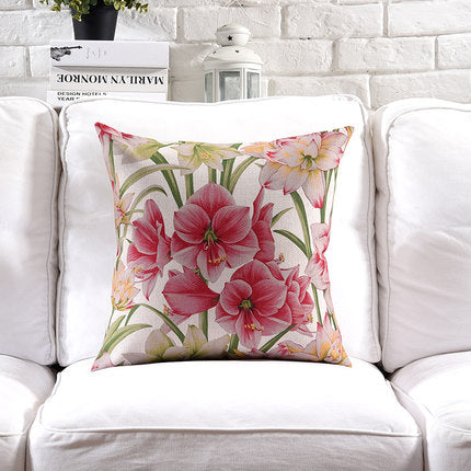 Costbuys  Pillow Cover Vintage Shabby Chic Pink Floral Cushion Cover Lily Poney Home Decorative Pillow Case 45x45cm/30x50cm - E
