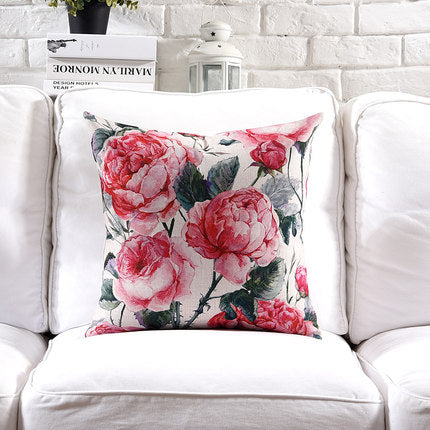 Costbuys  Pillow Cover Vintage Shabby Chic Pink Floral Cushion Cover Lily Poney Home Decorative Pillow Case 45x45cm/30x50cm - A
