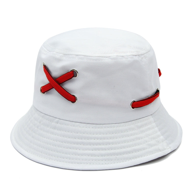 Costbuys  Hip Hop Summer Black White Solid Shoelace Bucket Hats Bonnie Caps For Men's Women's - White