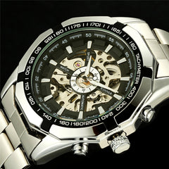 Luxury Brand Automatic Watches Mens Classic Self Wind Skeleton Mechanical Watch Fashion Cross Wristwatch