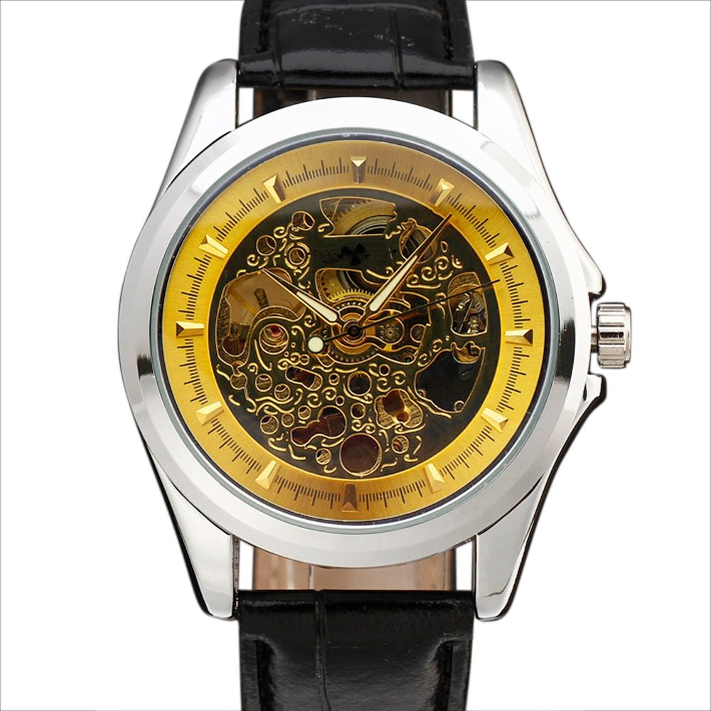 Costbuys  Navigator Series Men Watches Top Brand Luxury Skeleton Mechanical Watch Clock Men Gold Automatic Wristwatch Montre - G