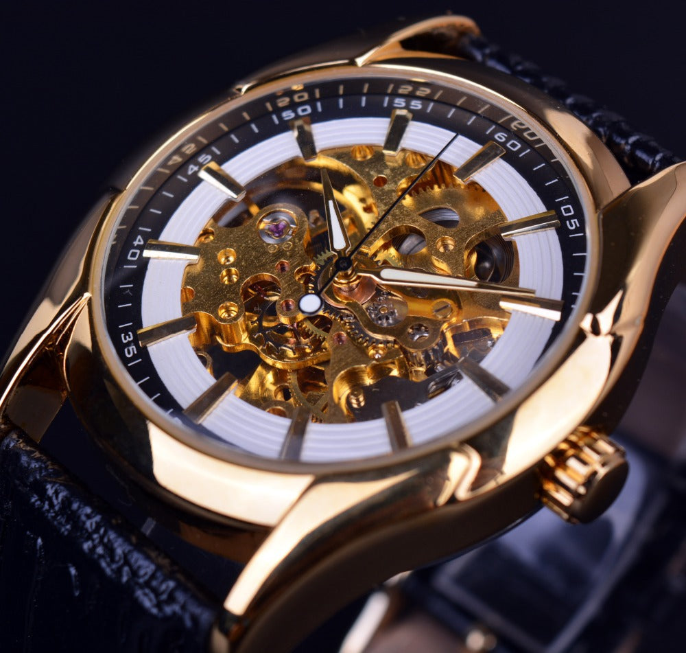 Costbuys  Navigator Series Retro Golden Skeleton White Watch Automatic Men Leather Wristwatch Men Watch Automatic Luxury Top Bra