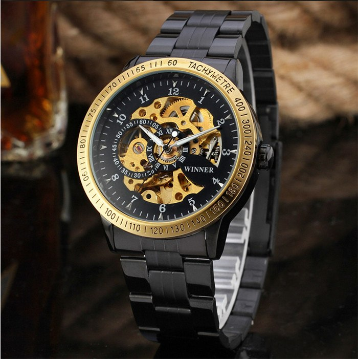 Costbuys  Stainless Steel Men Watches Top Brand Luxury Automatic Watch Luxury Brand Mechanical Skeleton Male Wrist Watch Relogio