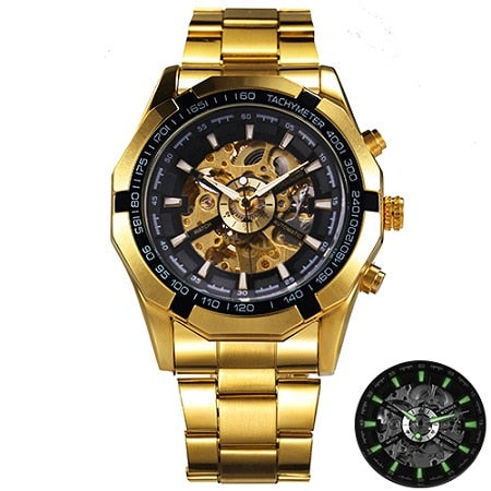 Costbuys  Watch Men Skeleton Automatic Mechanical Watch Gold Skeleton Vintage Man Watch Mens Watch Top Brand Luxury - GOLDEN ALL