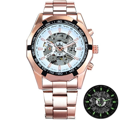Costbuys  Watch Men Skeleton Automatic Mechanical Watch Gold Skeleton Vintage Man Watch Mens Watch Top Brand Luxury - ROSE GOLDE