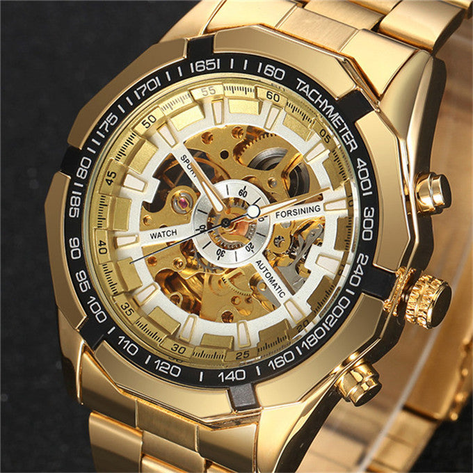 Costbuys  Watch Men Skeleton Automatic Mechanical Watch Gold Skeleton Vintage Man Watch Mens FORSINING Watch Top Brand Luxury -