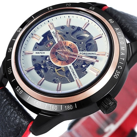Costbuys  Watch Men Skeleton Automatic Mechanical Watch Gold Skeleton Vintage Man Watch Mens Watch Top Brand Luxury - NEW LEATHE