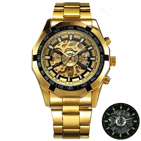 Costbuys  Watch Men Skeleton Automatic Mechanical Watch Gold Skeleton Vintage Man Watch Mens Watch Top Brand Luxury - GOLDEN GOL