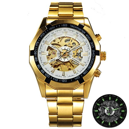 Costbuys  Watch Men Skeleton Automatic Mechanical Watch Gold Skeleton Vintage Man Watch Mens Watch Top Brand Luxury - GOLDEN WHI