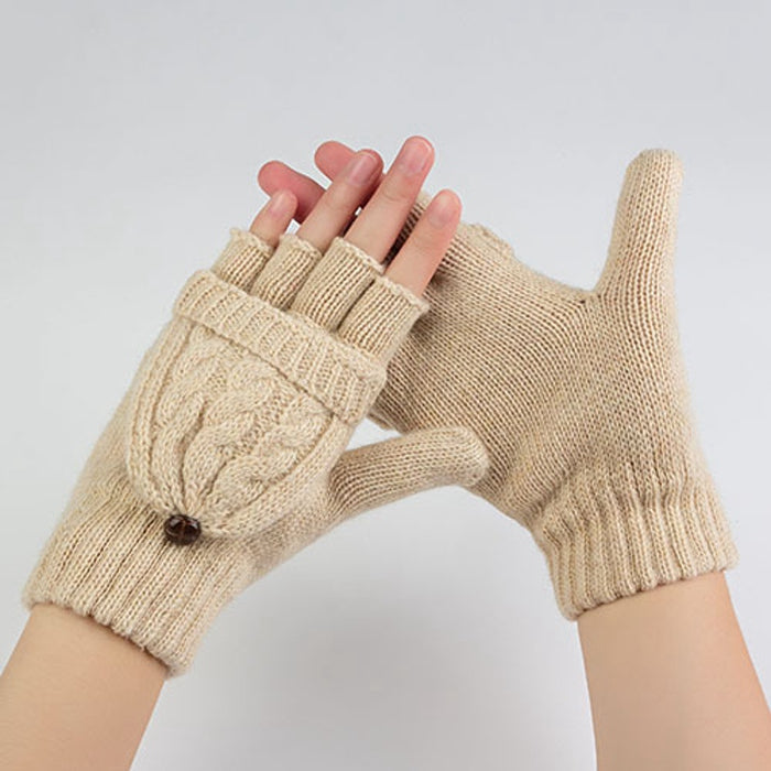 Costbuys  Winter Gloves Women Mitten Warmer Fingerless Gloves Girl Wool Exposed Finger Gloves Winter Ladies Mittens - Beige / On