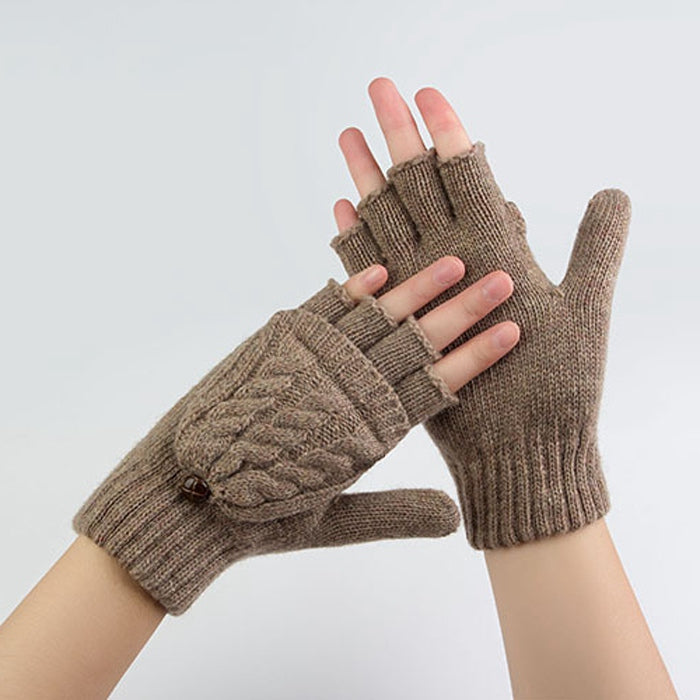 Costbuys  Winter Gloves Women Mitten Warmer Fingerless Gloves Girl Wool Exposed Finger Gloves Winter Ladies Mittens - Brown / On