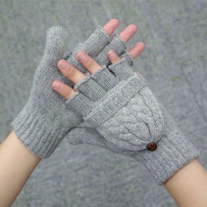 Costbuys  Winter Gloves Women Mitten Warmer Fingerless Gloves Girl Wool Exposed Finger Gloves Winter Ladies Mittens - Grey / One