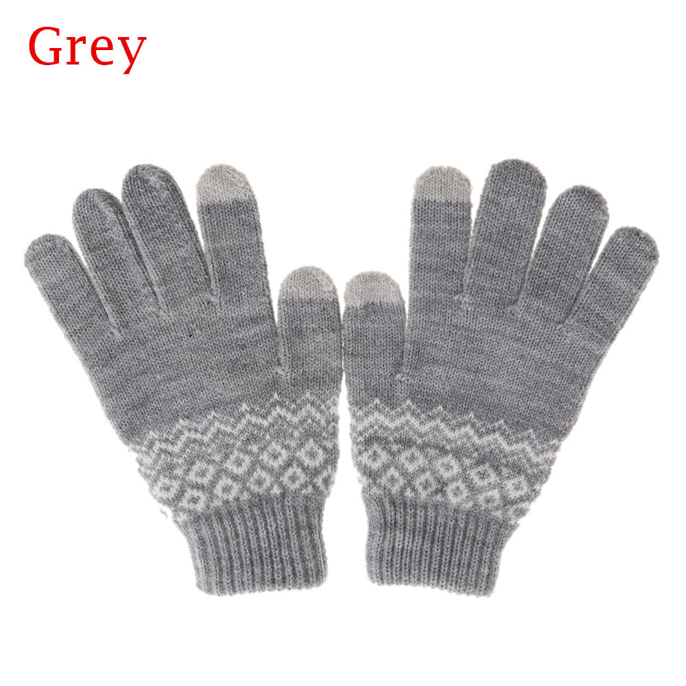 Costbuys  Winter Women Men Warm Stretch Touch Screen Gloves  Knit Mittens Warm Gloves Apparel Accessories - grey