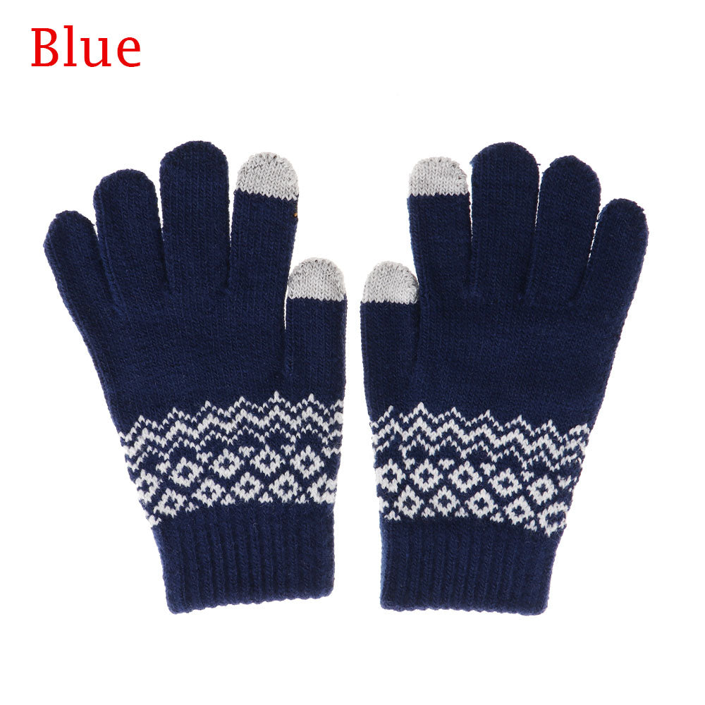 Costbuys  Winter Women Men Warm Stretch Touch Screen Gloves  Knit Mittens Warm Gloves Apparel Accessories - blue