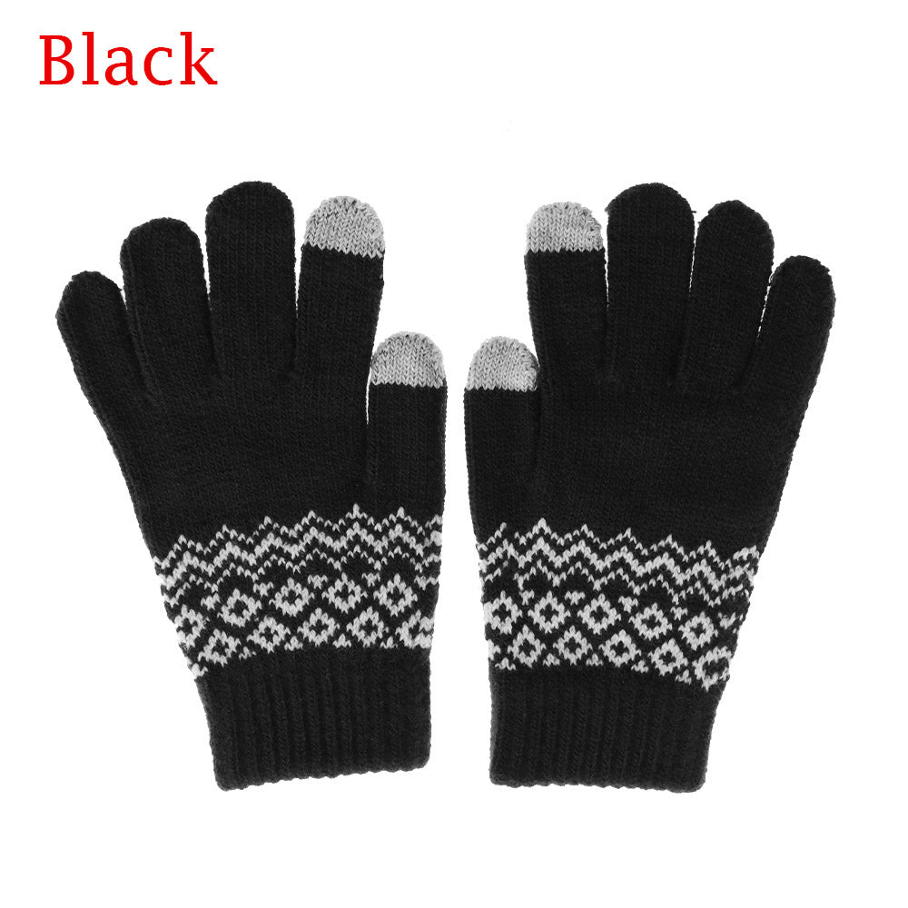 Costbuys  Winter Women Men Warm Stretch Touch Screen Gloves  Knit Mittens Warm Gloves Apparel Accessories - black