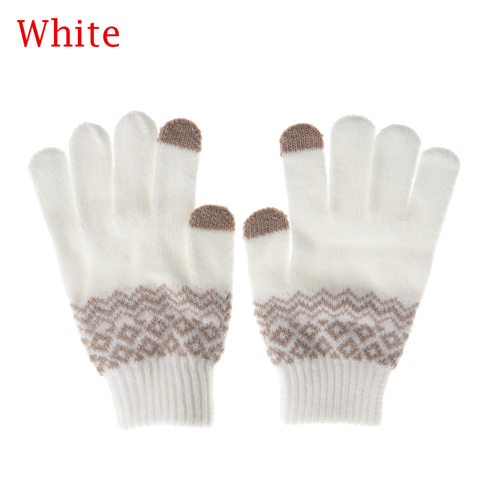 Costbuys  Winter Women Men Warm Stretch Touch Screen Gloves  Knit Mittens Warm Gloves Apparel Accessories - white