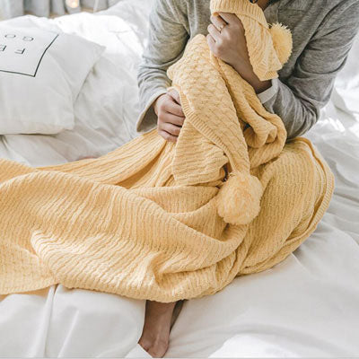 Costbuys  Winter Tassel Thread Blanket Knitted Throw Blanket for Beds Travel Airplane Sofa Plaid Bedspread Home Decor - yellow /
