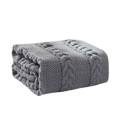Costbuys  Winter Tassel Thread Blanket Knitted Throw Blanket for Beds Travel Airplane Sofa Plaid Bedspread Home Decor - gey / 13