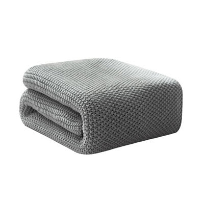 Costbuys  Winter Tassel Thread Blanket Knitted Throw Blanket for Beds Travel Airplane Sofa Plaid Bedspread Home Decor - grey_1 /