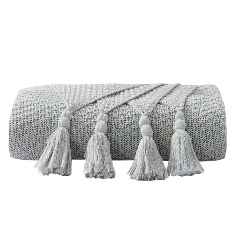Costbuys  Winter Tassel Thread Blanket Knitted Throw Blanket for Beds Travel Airplane Sofa Plaid Bedspread Home Decor - grey_5 /