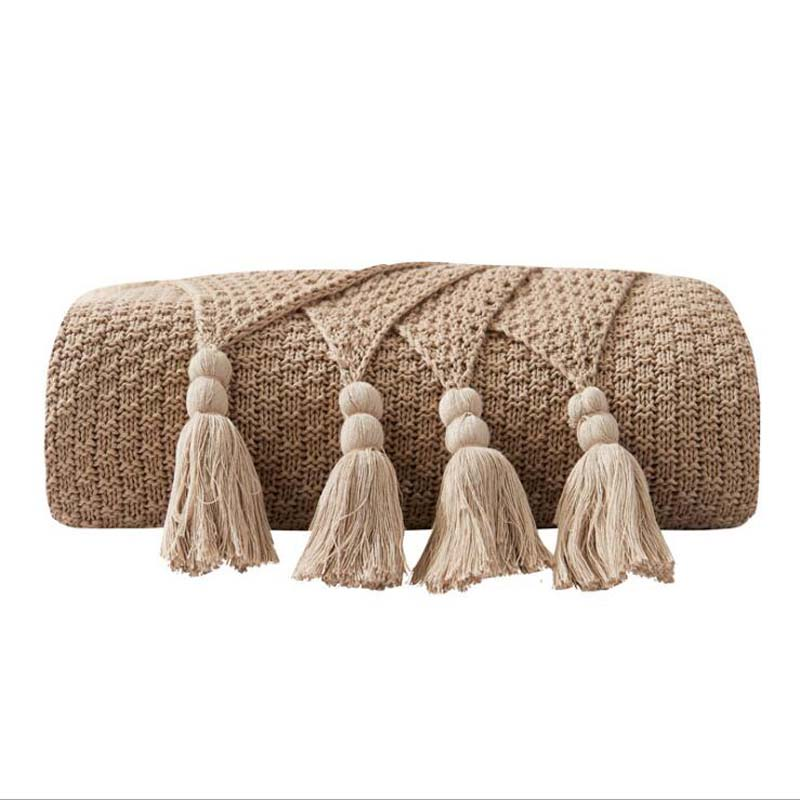 Costbuys  Winter Tassel Thread Blanket Knitted Throw Blanket for Beds Travel Airplane Sofa Plaid Bedspread Home Decor - khaki /