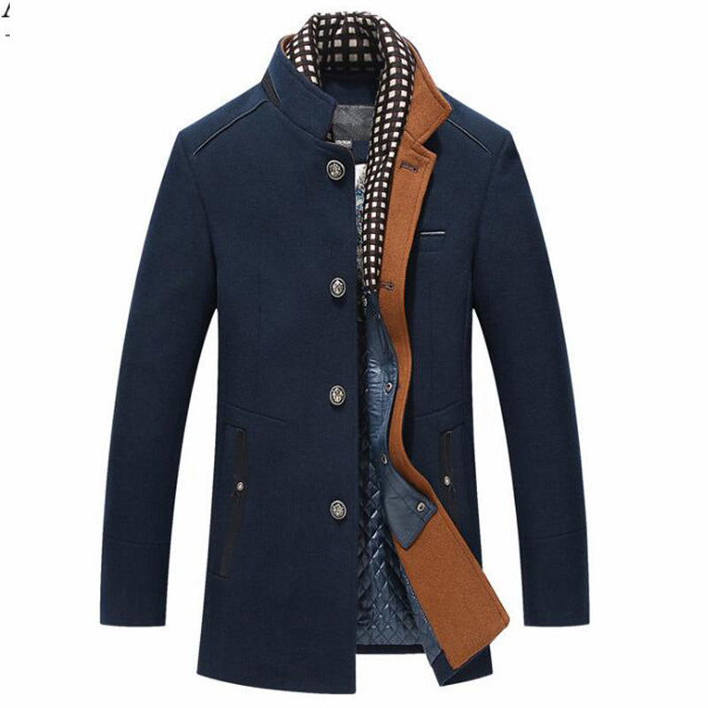 Costbuys  Winter Trench Coat Men Casual Thick Wool Overcoat Men's Stand Collar Woolen Coats With Detachable Scarf - Navy Blue /