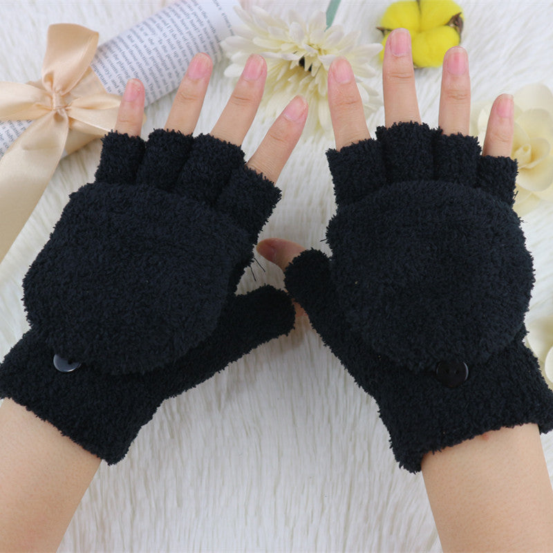 Costbuys  Winter Warm Gloves For Women High Quality Plush Knitting Half Finger Clam shell Outdoor Glove - Black