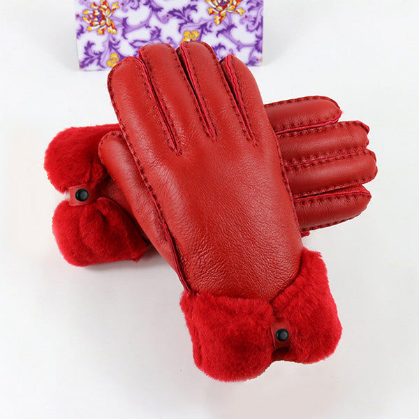 Costbuys  Winter gloves women mittens fur genuine leather gloves elegant ladies warm cashmere wrist gloves 5 colours - Red / One