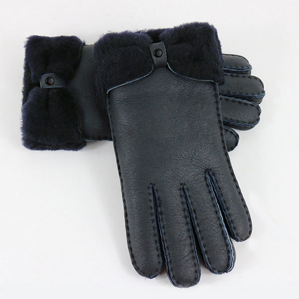 Costbuys  Winter gloves women mittens fur genuine leather gloves elegant ladies warm cashmere wrist gloves 5 colours - Black / O