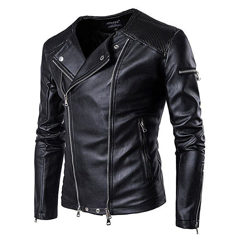 Winter men's style Casual leather jackets Men personality Fashion solid color Urban leisure zipper Clothes Jacket S-3XL