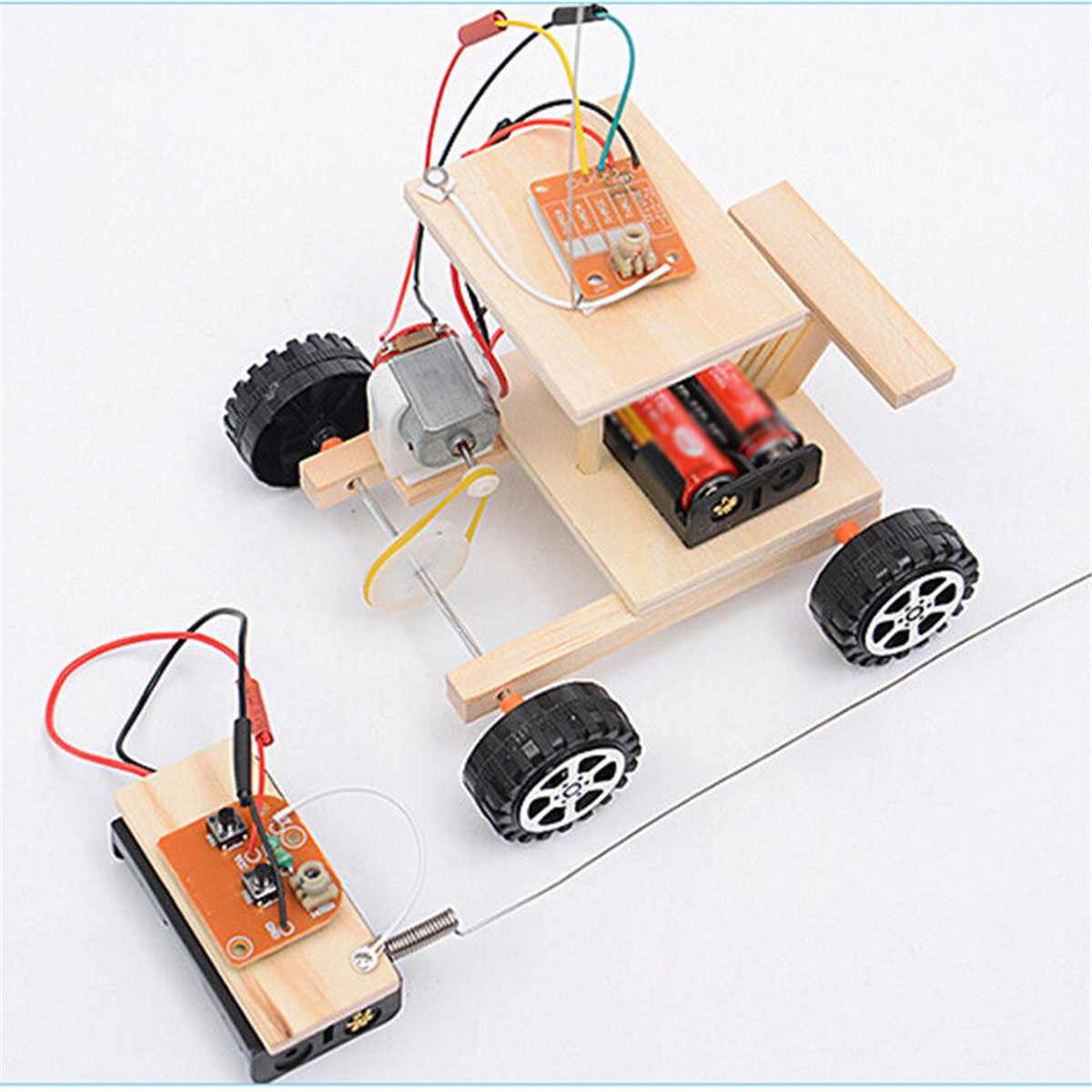 Costbuys  Wireless Wood RC Car Model DIY Remote Control Car Toys Gear Motor Kit Kids Science Experiment Interactive Toys Childre
