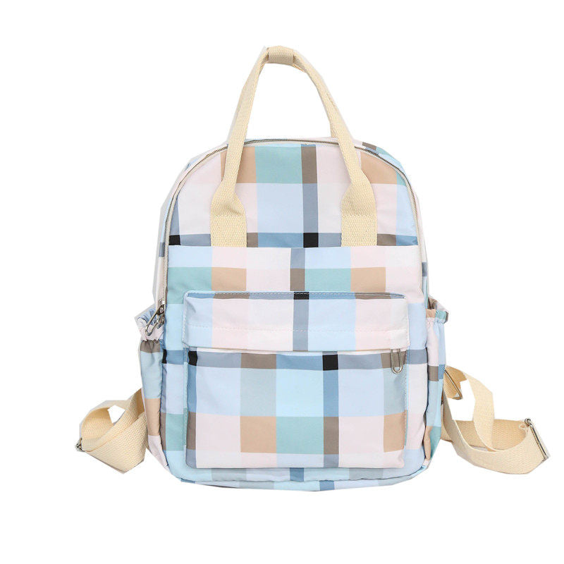 Costbuys  Women Backpack For School Teenagers Girls Vintage Stylish School Bag Ladies Nylon Lether Plaid Backpack Female Bookbag