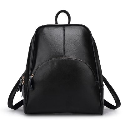 Costbuys  Women Backpacks Solid Fashion School Bag For Teenage Girls High Quality Leather Vintage Waterproof Backpack Travel - B