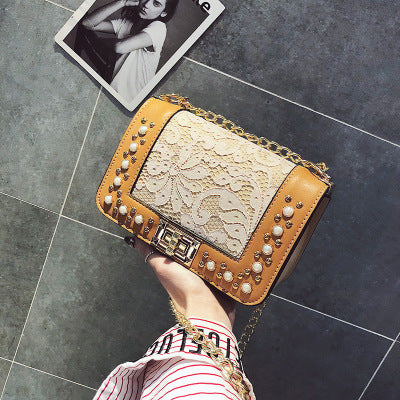 Costbuys  Women Brand Desinger Rhinestones PU Leather Shoulder Bag Small Crossbody Bag with Chain For Girls Ladies Bag Pearl 877