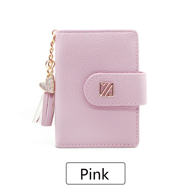 Costbuys  Women Card Holders Fashion Tassel hanging Credit Card Wallet  Women Business Card Holder 20 Card Slots Pu Leather - Pi