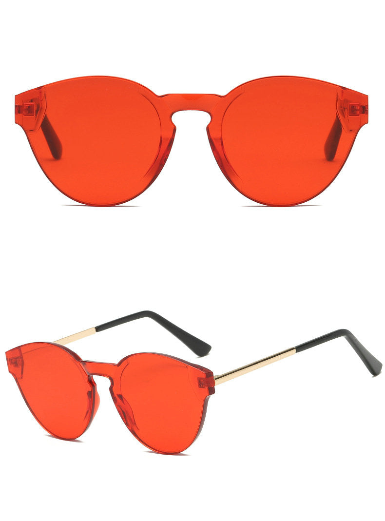 Costbuys  Women Fashion Cat Shades Oval Sunglasses Integrated UV Candy Colored Glasses Frameless One Fashion Men and Women Metal
