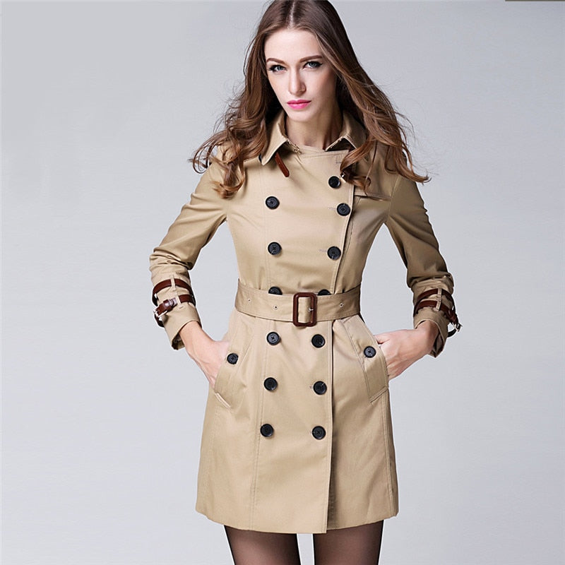 Costbuys  Women Female coat Long Style Elegant Trench Coat/Designer Belted Double Breasted Trench/Outerwear trench coat KHAKI -