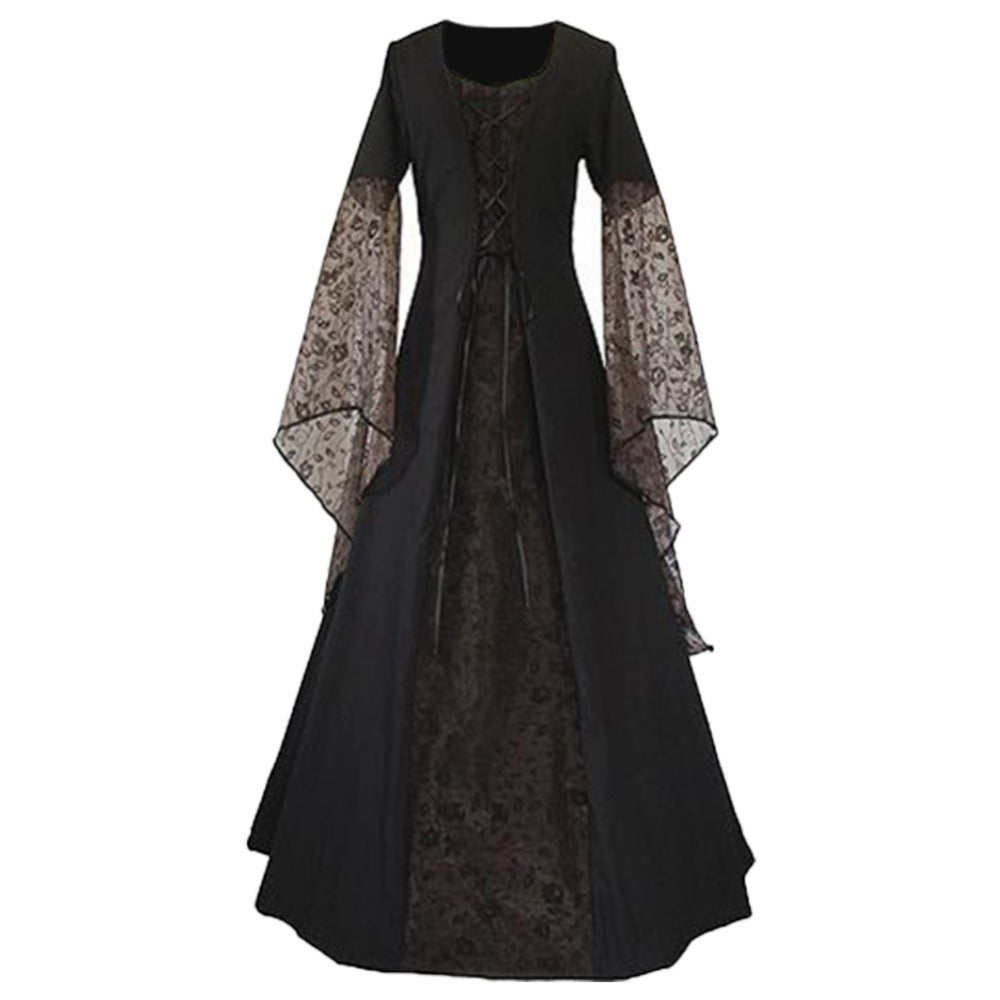 women lace up vintage long dress renaissance womens costume medieval maiden  fancy cosplay halloween costumes victorian 1d67c9c6d155