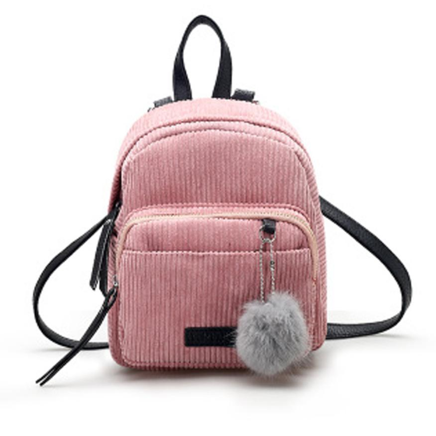 Costbuys  Women Leather Backpack Solid Red Gray School Bag Escolar Travel Small Mini Corduroy Bag - Pink / United States