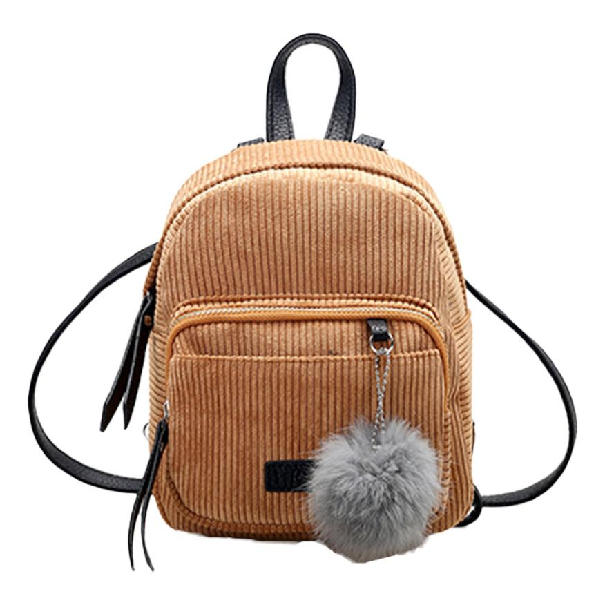 Costbuys  Women Leather Backpack Solid Red Gray School Bag Escolar Travel Small Mini Corduroy Bag - Khaki / United States